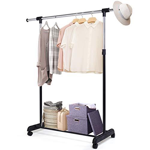DREAMADE Kleiderständer auf Rollen, Kleiderstange mit Ablage, ausziehbar, Garderobenwagen Garderobenständer aus Metall, Kleiderwagen höhenverstellbar
