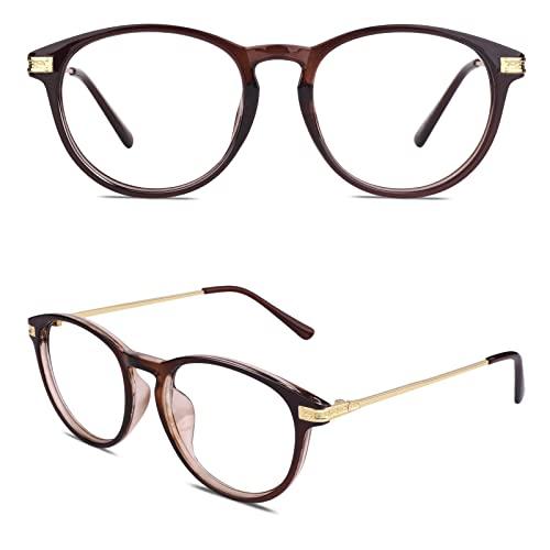CN92 Klassische Nerdbrille rund Keyhole 40er 50er Jahre Pantobrille Vintage Look clear lens, B Braun, 47