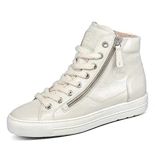 Paul Green 4024 Damen Sneaker Leder weich gepolstert Schnürung Ziernähte Uni, Groesse 41 1/2, beige