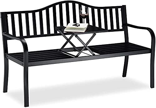 Gartenbank Parkbank Metall 150 x 60 x 80cm 2-Sitzer Metall-Bank mit Integriertem, Einklappbarem Tisch Sitzbank Gartenmöbel Ruhebank Außen-Bank, Schwarz