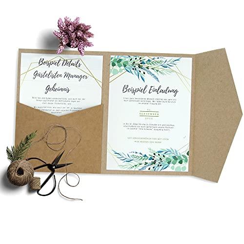 HAFTSTEIG Pocketfold Karten 50 Stück I 135 x 185 mm I 280 g/m² I Hochzeitseinladungskarten I Taufe I Dankeskarten I Kraftpapier Klappgrußkarten Invites Kraft