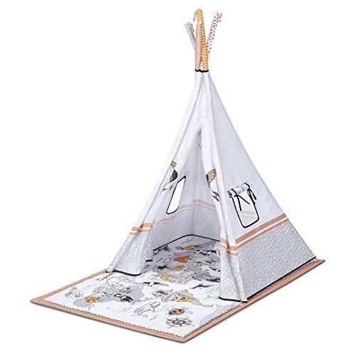 Kinderkraft Spielmatte 3in1 TIPPY, Tipi Zelt, Lernmatte, Erlebnismatte, Krabbeldecke, Spieldecke, verstellbaren Spielbogen mit Spielsachen, von Geburt, Mehrfarbig