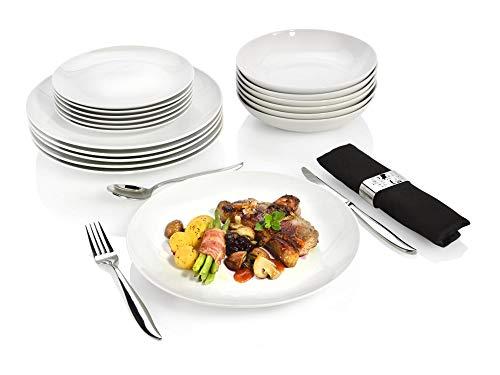 Sänger Tafelservice New Port 18 teiliges Geschirr-Service für 6 Personen aus Porzellan, Speise-, Dessert- und Suppenteller, erweiterbar, Alltag, Dinner, Klassische Hochzeits Teller