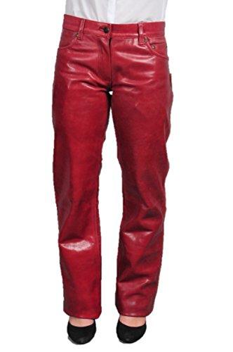 Fuente Lederhose Damen lang - Lederjeans Herren- Echt Leder, Lederhose Jeans 501 Rot- Motorrad Lederjeans- Fuente Moderne Lederhose in Rind Nappa antik (32, Weinrot)