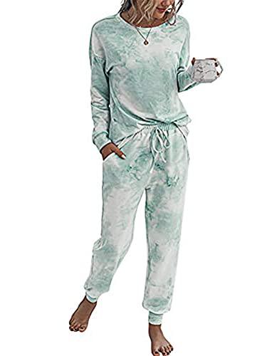 Doaraha Damen Sportanzüge Schlafanzug Trainingsanzug Jogginganzug Freizeitanzug Hausanzüge Frauen Zweiteiliger Sportanzüge Sport Pullover + Hose für Freizeit, (X) Hellgrün, M