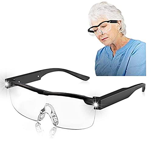 Mifine Anti-Blaue Lesebrillen mit 2 LED Brille 400 Grad Lesehilfe vergrößerungsbrille für klare Sicht 250% Vergrößerung Leselupe, helfen Ihnen beim Lesen, Nähen, Basteln, Reparieren