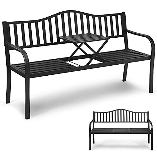 RELAX4LIFE Gartenbank mit ausziehbarem Tisch, Sitzbank aus rostbeständigem Eisenrahmen, Terrassenbank Stabil, Parkbank für 3 Personen, Eisenbank für Terrasse Balkon Garten, Bank mit Armlehnen, schwarz