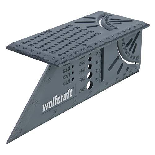 wolfcraft I 3D-Gehrungswinkel I 5208000 I zum Bearbeiten von dreidimensionalen Werkstücken I Anschläge für 45°- und 90°-Winkel I einsetzbar als Streichmaß für parallele Linien
