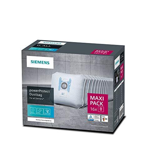 Siemens 16x Staubsaugerbeutel PowerProtect Typ G ALL, VZ16GALL, 99,9% Feinstaubfilterung, höhere Reinigungsleistung, 50 % längere Nutzungsdauer, passend für alle Reihen außer VS08 und VS01