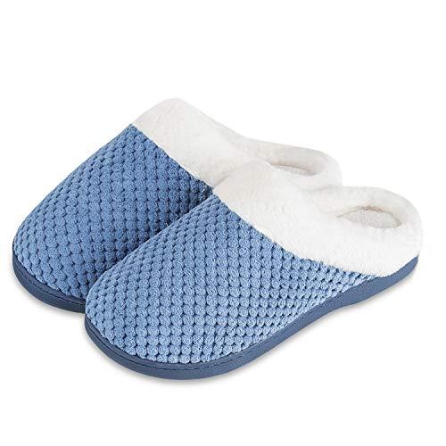 Hausschuhe Damen Winter Hausschuhe Herren Wärme Memory Foam Home Plüsch Rutschfeste Drinnen und Draußen Slipper(Light Blau, 42/43EU)
