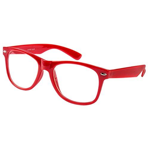 Ciffre EL-Sunprotect® Klar Glas Nerdbrille Brille Nerd Sonnenbrille Hornbrille Streber Rot