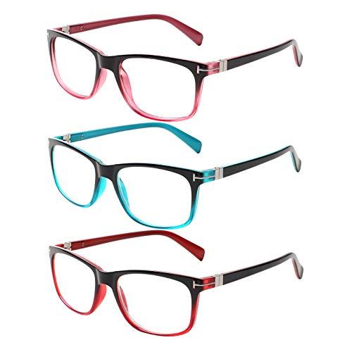 Kerecsen 3 Pack Lesebrille Damen Federscharniere Gute Brillen Hochwertig Rechteckig Komfortabel Frauen Lesehilfe (3.0, 3 Farbe Mischen)