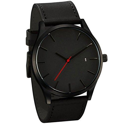cinnamou Herrenuhren - Business Quarz Uhr - Leahter Analog Quarzuhr Männer Business Kleid Armbanduhr Herren Wasserdichte Sportuhr (A)