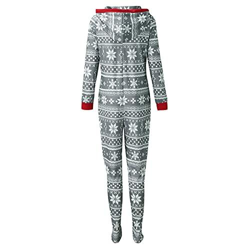 Hengyouhui Familie Einteiler Jumpsuit Onesie Overall Pyjama Weihnachten Schlafanzug Trainingsanzug Ganzkörperanzug Hausanzug Mit Kapuze & Reißverschluss