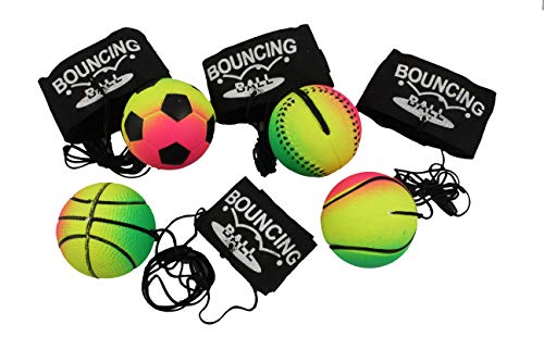 Creation Gross 4er Set Neon-Springball/Returnball/Flummi, Armband & Schnur, Safety Clip, Fußball/Basketball/Tennisball/Baseball Ø6,3cm (2700011)