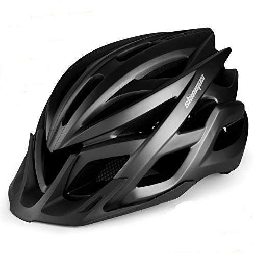 KINGLEAD Erwachsener Fahrradhelm für Damen Herren mit StVZO LED Licht, Verstellbarer Mountainbike Helm MTB mit Visier für Skateboard/Radfahren, superleichter Urban Rennradhelm mit CE-Zertifikat
