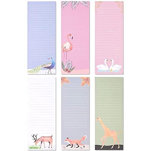 6 Magnetische Notizblöcke mit je 60 Blatt, Liniert, 6 Farben und Tier-Motive, 8,9 x 22,9 cm