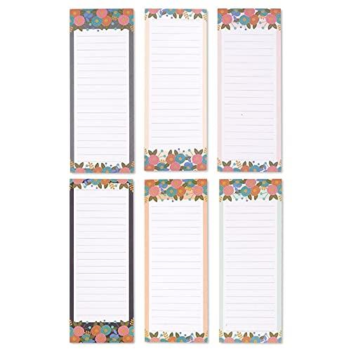 Juvale Magnetischer Notizblock (6er Set) - Liniert, Magnetische Rückseite - Als To-Do-Liste, Einkaufszettel - Blumendesigns - 6 Farben - 60 Blatt/Block - 8,9 x 22,9 cm