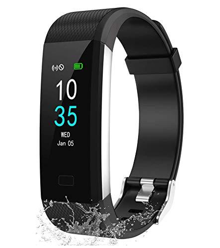 LEBEXY Fitness Armband Wasserdicht IP68   Fitness Tracker Uhr   Smartwatch Schrittzähler Aktivitätstracker   Kalorienzähler Sportuhr eingebautes GPS, Schwarz