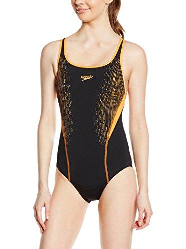 Speedo Damen Badeanzug Fit Kickback, Black/Orange, 32, 8-09658A315