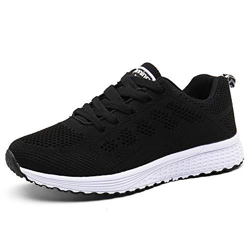 PAMRAY Damen Fitness Laufschuhe Sportschuhe Schnüren Running Sneaker Netz Gym Schuhe Schwarz 39 EU