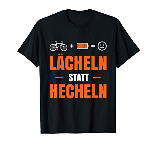 Radfahrer E-Bike lustiger Spruch Lächeln statt Hecheln T-Shirt