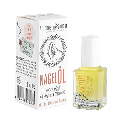Arganoel-Zauber Nagelöl, Nagelhärter inkl. Pinsel, stärkt & pflegt rissige, brüchige Fuß- und Finger-Nägel, vegan & tierversuchsfrei, mit Arganöl, Vitamin C & Bisabolol 1 x 11 ml
