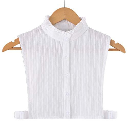 JOYKK Womens White Fake Kragen vertikale Streifen abnehmbare Revers Rüschen Half-Shirt - 3# Stehkragen