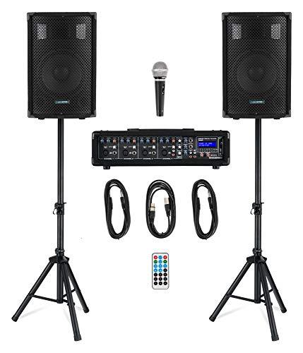 McGrey BP-210 Bandpack PA-Anlage - 4-Kanal Powermixer - digitaler Hall - Bluetooth - USB/SD-Slot - 2-Wege-Lautsprecher mit 10