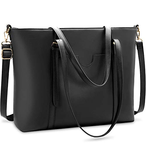 NUBILY Handtasche Shopper Damen Groß 15.6 Zoll PU Leder Shopper Schwarz Laptop Umhängetasche Gross Business Aktentasche Frauen Retro Schule Taschen