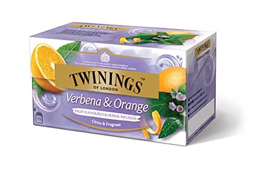 Twinings Verbena and Orange Früchtetee - Raffinierte Teekreation mit natürlicher Zitronen-Note und dem mild-süßen Aroma sonnengereifter Orangen im Beutel, 25 Teebeutel (37.5 g)