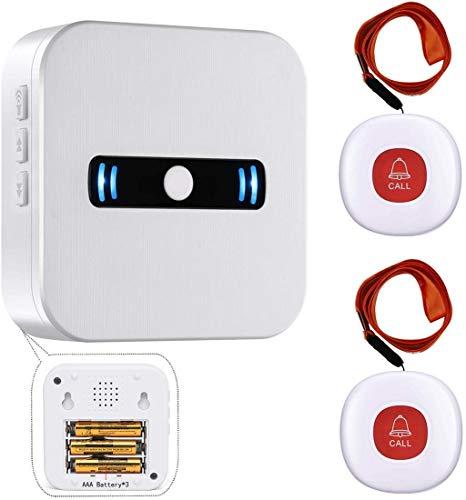 Daytee Notrufknopf Für Senioren/Wireless Mobiler Alarm Notfallknopf Hausnotruf Für Senioren Funktioniert Pflegeruf Notrufklingel für ältere Menschen 2 Sender Und 1 Empfänger