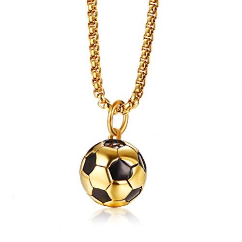 Cupimatch Herren Kette Fußball Halskette WM Schmuck Edelstahl 60cm, Gold
