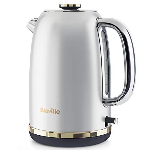 Breville elektrischer Wasserkocher   1,7l (8Tassen)   2,4kW für schnelles Erhitzen   Mostra-Kollektion   Mondscheinsilber mit goldenen Akzenten