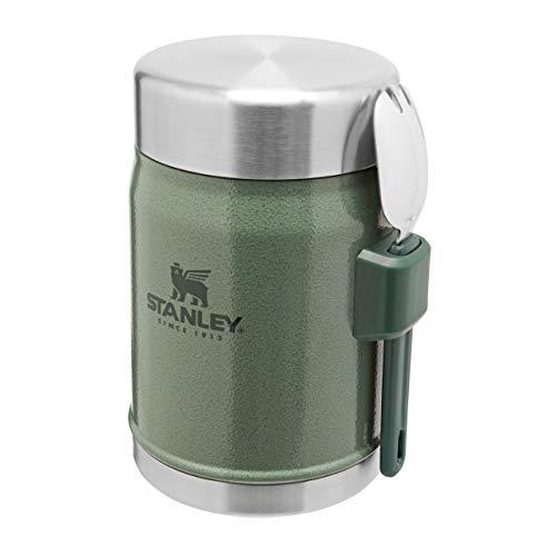 Stanley Classic Legendary Food Jar 400 ml / 14 OZ Hammertone Green mit Spork - Edelstahl-Essensbehälter | BPA-frei |Hält 7 Stunden heiß oder kalt |Auslaufsicher | Spülmaschinenfest |Lifetime Warranty