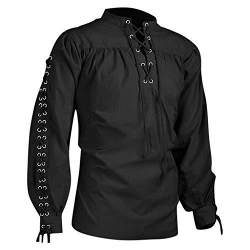 Geilisungren Herren Vintage Hemd Mittelalterliches Gothic Langarm Kreuzgurt T-Shirt Ethnisch Stil Einfarbige Bluse Übergrößen Tops Longsleeve Shirts für Männer Gr.S-5XL(Schwarz,XXL)