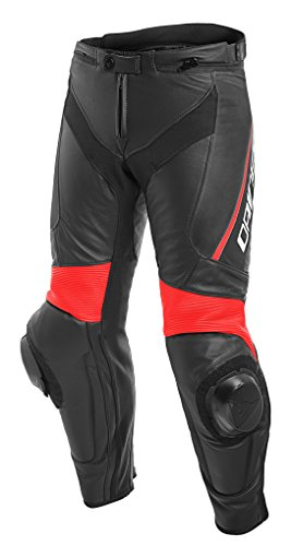 Dainese Lederhose Delta 3, schwarz/schwarz/fluo-Rot, Größe 50
