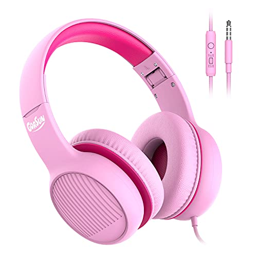 gorsun Premium A66 Kopfhörer für Kinder mit 85dB/94dB Lautstärkebegrenzung, in-line HD-Mikrofon, Audio-Sharing, Faltbare KinderKopfhörer, einstellbare Toddler Kopfhörer Over-Ear, Rosa