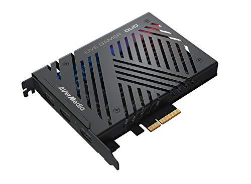 AverMedia Live-Gamer Duo, 4Kp60 HDR-Passthrough, PCI-E, extrem niedrige Latenzzeit, ideal für Xbox, Playstation und PC (GC570D), 61GC570D00A5