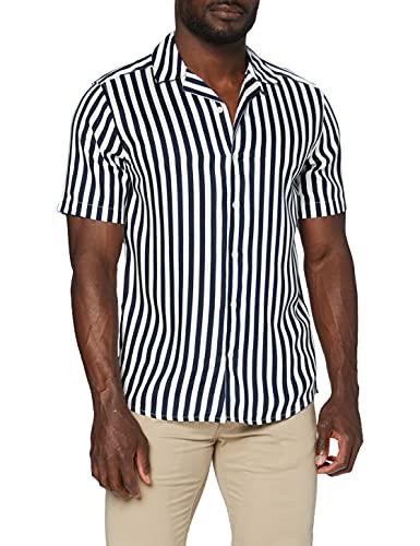 ONLY & SONS Herren Onswayne Striped Viscose Shirt Noos Freizeithemd, Dress Blues, L EU