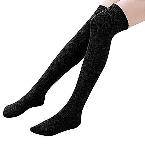 Knee High Socks 1 Paar Halten Overknee Strümpfe Stricken Sport Socken , Schwarz - one size