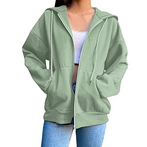 wenyujh Kapuzenjacke Damen Hoodie Jacke Boyfriend Style Outwear Sweatjacke Übergangsjacke Sportjacke Freizeitjacke Hoodies (Hellgrün,M)