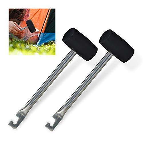 Relaxdays 10030757 Camping Hammer mit Heringsauszieher, 2er Set, Gummi & Eisen, leichte Zelthammer, 28,5 cm lang, Silber-schwarz