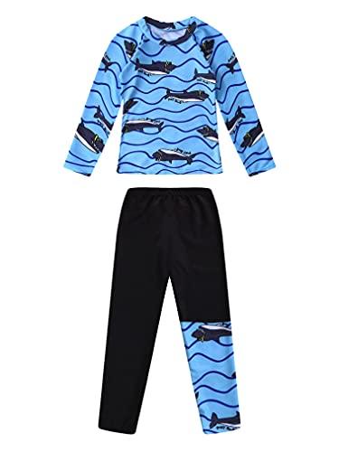 FEESHOW Kinder Jungen Rash Guard Badeanzug Schwimmanzug Bademode UV Sonnenschutz Langarmshirt mit Badehose Beachwear Blau 134-140