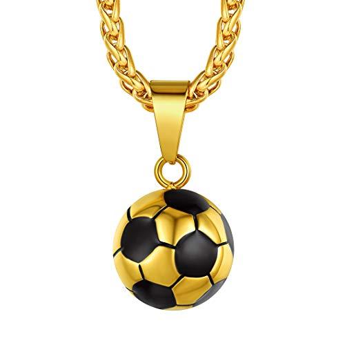 Richsteel Vergoldet Herren Fußball Anhänger Halskette Männer Fußball Schmuck für jeden Tag