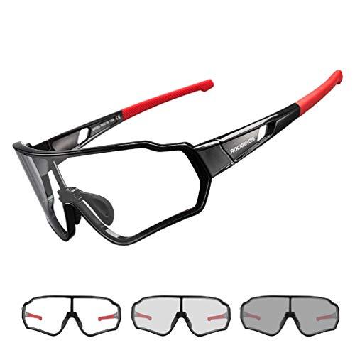 ROCKBROS Sonnenbrille Photochromatisch für Herren Frauen Fahrrad Sportbrille UV400-Schutz für Outdoor-Sport Angeln Golf Radfahren Laufen