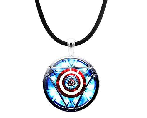 The Avengers Jewelry Mens Kids Marvel Iron Man Tony Stark Heart Necklace Creative Arc Reactor One
