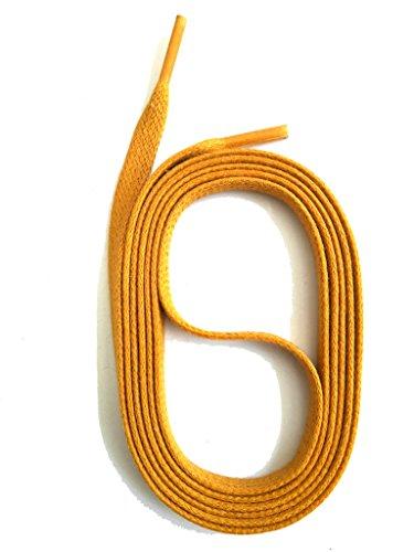 SNORS gewachste Schnürsenkel FLACH, 5mm, 20 Farben, 4 Längen, reißfest, Baumwolle, edler Look, Flachsenkel Made in Germany (110 cm, Ocker)