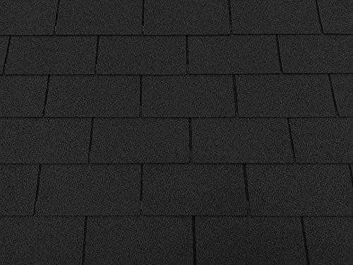 Isolbau Dachschindeln 6 m² Rechteck Schwarz (2 Pakete) Schindeln Dachpappe Biberschindeln Bitumenschindeln Gartenhaus Vogelhaus Holz Kaninchenstall Betonsäulenüberdeckung Hundehütte