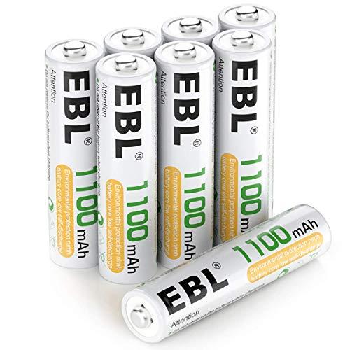 EBL AAA Akku 1100mAh 8 Stück - wiederaufladbare Batterien AAA, Typ NI-MH Batterien, geringe Selbstentladung mit Akkubox, AAA Akkubatterien